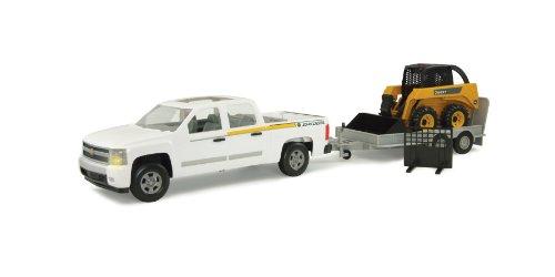 Ertl Big Farm 1:16 Truck Skidsteer And Flatbed Utility Trailer - John Deere Skidsteer Toy