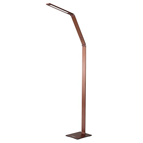 Finether LED Floor Lamp Dimmable and Color Adjustable 3000K - 6000K, 8W Touch Standing Light for Reading Living Room Bedroom (Bronze Modern Desk Lamp)