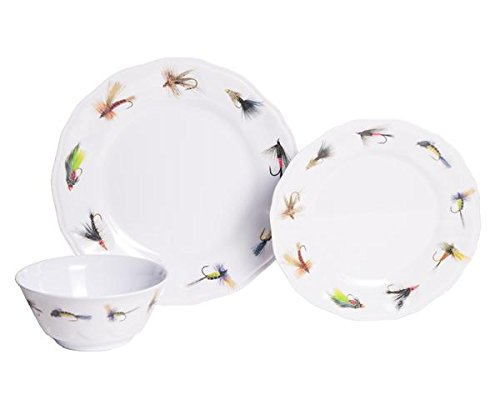 Galleyware Fishing Flies 18-Piece Melamine Dinnerware Set, Service for 6 (Non Skid Dinnerware)