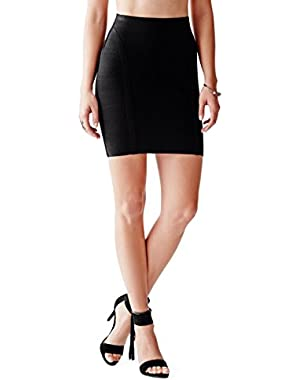GUESS Women's Ottoman-Stitch Bandage Skirt