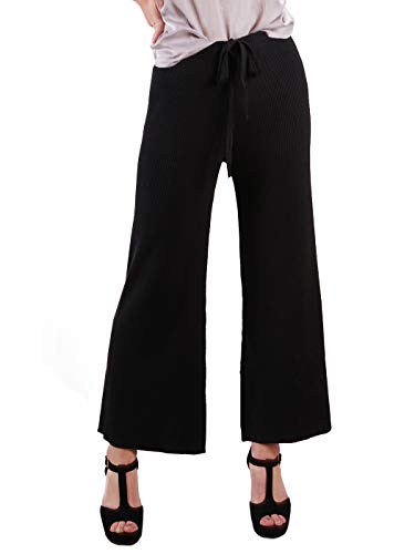 Anna-Kaci Women's Ribbed Knit Wide Leg Drawstring Waist Tie Crop Culotte Pants,Black,Small (Crop Pant Drawstring)
