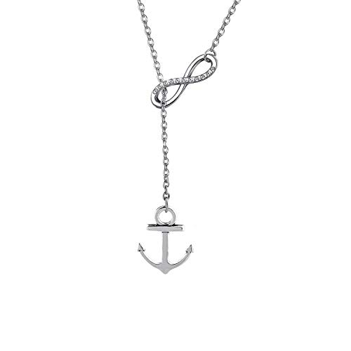 Gzrlyf Infinity Anchor Necklace Lariat Y Necklace Nautical Jewelry Ocean Themed Gifts (Y-Necklace)