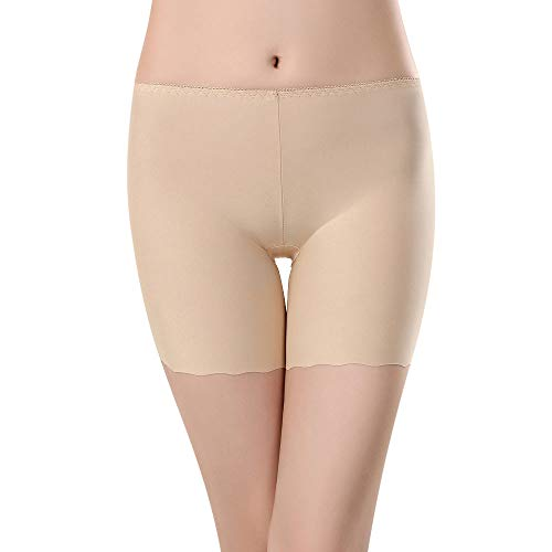 TOTOD Slip Shorts for Women Short Leggings Mid Thigh Skinny Seamless Underpants Plus Size S-5XL Lace Undershorts (Z05-Khaki,L) (Crazy Vermont Teddy Bear)