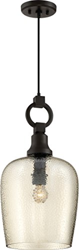 Quoizel CKKD1512WT Kendrick Round Glass Pendant Lighting, 1-Light, 150 Watts, Western Bronze (22