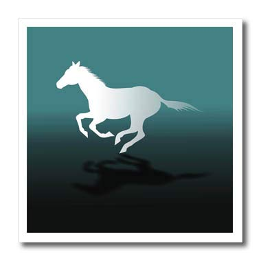 3dRose Russ Billington Designs T-Shirts Running White Horse Design in Blue Gray and White