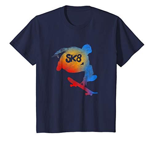 Kids Skateboarding Evolution T shirt Cool Sk8 Skater Tee Gifts 12 Navy