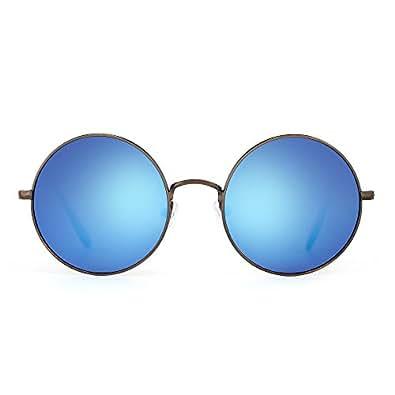 Amazon.com: Aleación de retro flash anteojos de sol círculo ...