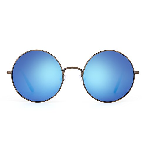 Retro RoundFlash Sunglasses Reflective Circle Lens Alloy Eyeglasses Men Women (Bronze / Revo - Blue Circle Lenses