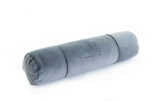 "Price comparison product image ALIBO Cervical Cylinder Round Roll 22""×5"" Long Bolster Neck Pillow Back Sleeper Bed Sleeping Supports Leg Massage Pillow With Washable Pillowcase,Grey"