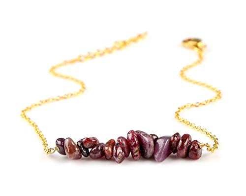 - 14K Gold Filled Silver Natural Raw Ruby Gemstone Nugget Beaded Bar Bracelet Women Jewelry