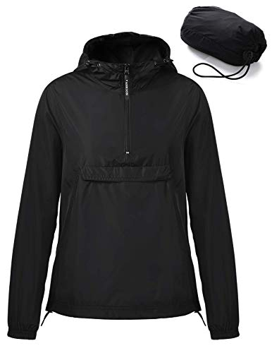 ANGGREK Ladies Hooded Running Jacket Windbreaker Solid Front Pocket Pullover Black L