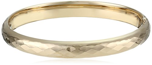 14k Gold-Filled Polished Faceted Hinged Yellow Bangle Bracelet