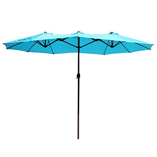 Le Papillon 15 ft Market Outdoor Umbrella Double-Sided Aluminum Table Patio Umbrella with Crank, Blue