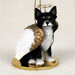(Black & White Chihuahua Pet Angel Ornament )