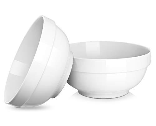 DOWAN 2 Quarts Porcelain Serving Bowls, 2 Packs, White, Anti-slipping, Stackable (2 Quart Microwave Safe Bowl)