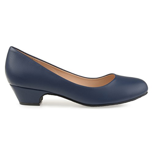 - Brinley Co. Womens Soren Classic Faux Leather Comfort-Sole Heels Navy, 9 Regular US