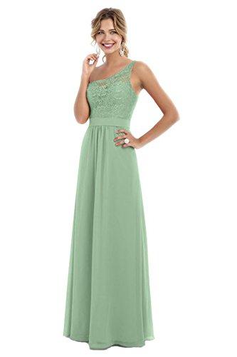Womens Shoulder Dresses Chiffon Evening Bridal Sage Beauty Prom Bridesmaid Long One Tq5wfBF