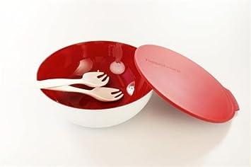 Tupperware Allegra 5,0 L rojo blanco Cubiertos Para Servir Ensalada Bol Bandejas + p