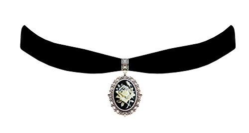 Victorian Vault Black Velvet Choker Rose Cameo Gothic Steampunk Pendant Necklace]()