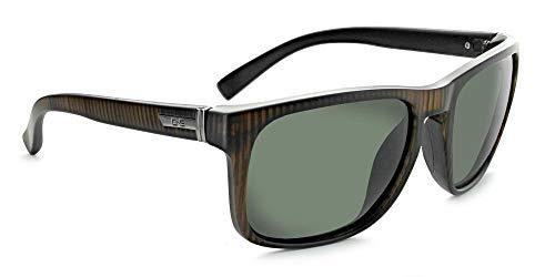 Optic Nerve, Ziggy, Unisex Sunglasses - Matte Vertical Driftwood Demi Frame, Polarized Grey ()