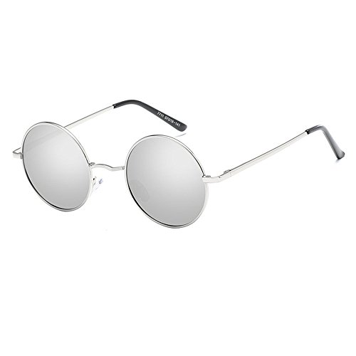 Retro Frame Hippy Plata primavera Round Frame Plata de Sunglasses Metal Diseño Classic Punk ar4awtSq