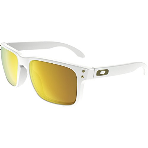Oakley Men's Holbrook Sunglass, Polished White/24k - Green Lens Iridium Oakley