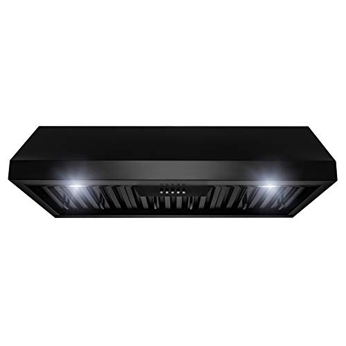 AKDY 36 in. 500 CFM Ducted Under Cabinet Range Hood in Black Painted Stainless Steel with LEDs and Push Buttons