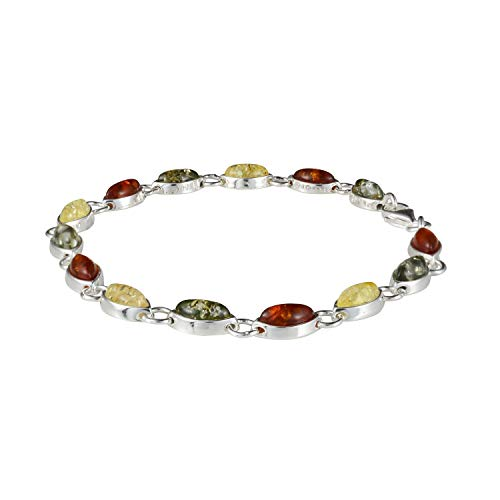 Silver Jewellery Amber Bracelets - HolidayGiftShops Sterling Silver Multi-Colored Baltic Amber Bracelet