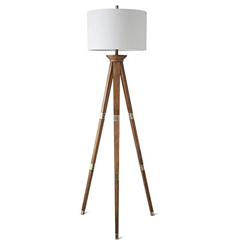 threshold Oak Wood Tripod Floor Lamp Brass