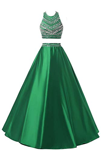 Himoda Women's Two Pieces Beaded Evening Gowns Satin Sequined Prom Dresses Long H052 2 Green