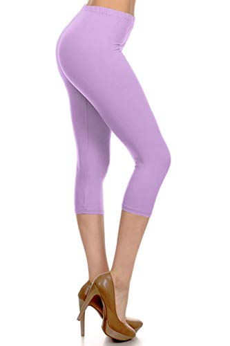 NCPR128-LILAC Capri Solid Leggings, One Size -
