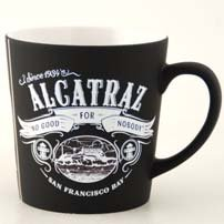 (21 6/18) SALE CM San Francisco Alcatraz Coffee Mug Wild Black Spray 16 Oz Taper SFMugola With Exclusive CA Bear Magnet