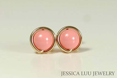 (Gold Pink Coral Stud Earrings with Swarovski Pearl Wire Wrapped Yellow or Rose Gold Filled)
