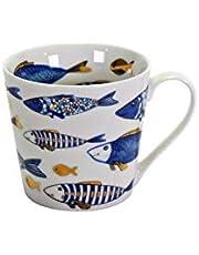 2x Beker Koffiemok Mok Blauw Vis Blauw Goud 400ml Servies Porselein Communie Bevestiging Doop