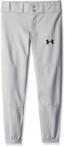 Under Armour Boys' Clean Up Cuffed Baseball Pants, Baseball Gray/Black, Youth Large