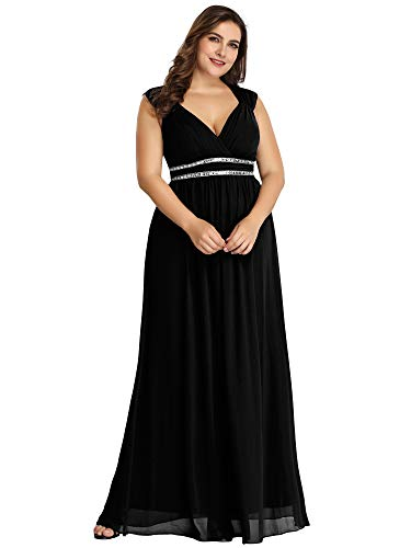 Ever-Pretty Women's V-Neck Empire Waist Floor Length Bridesmaid Dress Plus Size Black US22