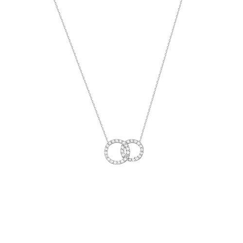 DiamondJewelryNY Silver Pendant, E2W Adj.Cz Interlock Circles NCK-D/C ()