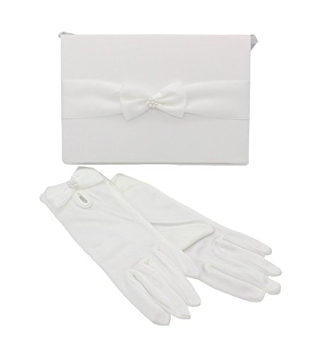Christian Living Girl's Purse with Ribbon Bow Trim and Matching Gloves White