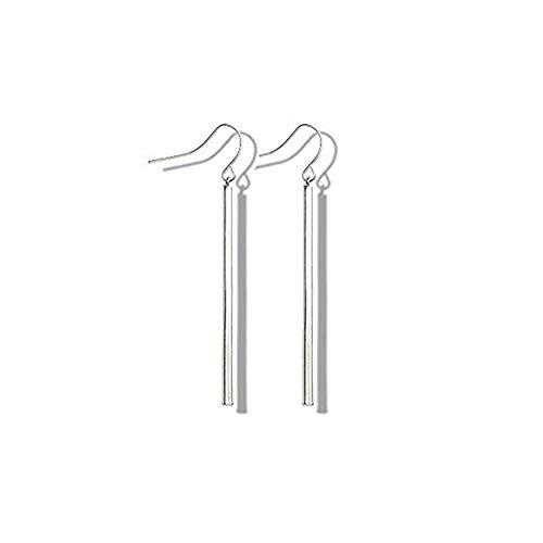 FAUOI Silver Vertical Bar Dangle Earrings for Women Girls Drop Earrings Hypoallergenic