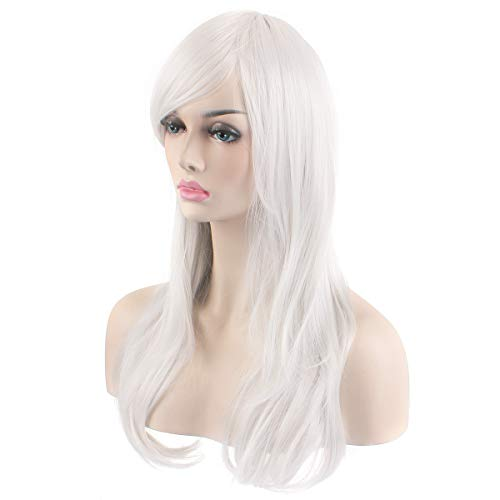 """AKStore Fashion Wigs 28"""" 70cm Long Wavy Curly Hair Heat Resistant Wig Cosplay Wig For Women With Free Wig Cap (White)"""