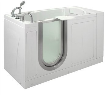 52'' x 28'' Petite Massage Whirlpool Walk In Tub Door and Drain Location: Left