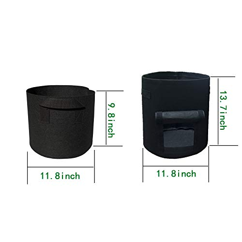 4 Pack Grow Bags ,2 Pack 5 Gallon 2 Pack 7 Gallon Plant Growing Bags Garden Plant Bags with Handle Vegetable/Flower/Plant Grow Containers for Indoor & Outdoor Planting (5 Gallon+7 Gallon)