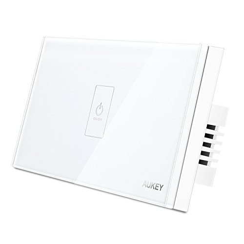 AUKEY Light Switch, Wall Light Touch Screen Switch with Crystal Glass Panel and LED Indicator