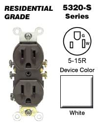 leviton 5320 sw duplex receptacle residential grade 5 15r 15a 125v quickwire push in side