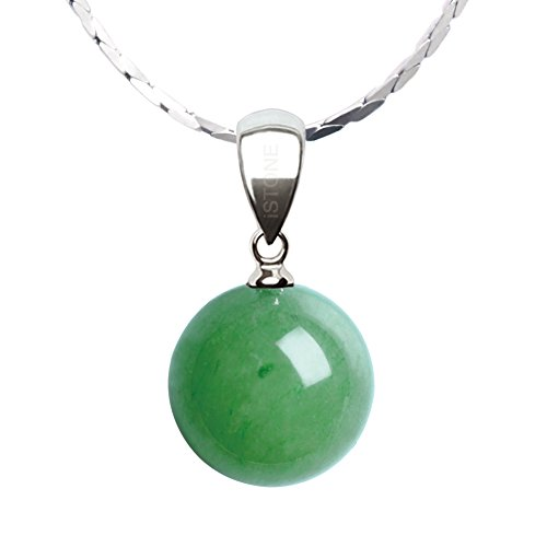 iSTONE Natural Green Jade Pear Shape Pendant Necklace 925 Sterling Silver Chain 18 inch