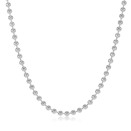 925 Sterling Silver Measures (925 Sterling Silver Nickel-Free 1.8mm Pallini Style Bead Italian Chain, 22