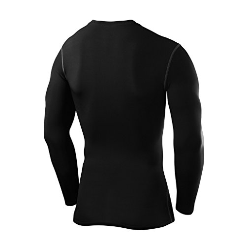 PowerLayer Men's Boys Compression Shirt Long Sleeve Base Layer Thermal Top - Black Large Boy (10-12 Years) by PowerLayer (Image #2)