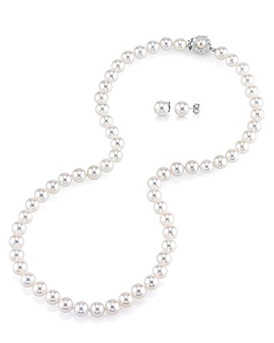THE PEARL SOURCE AAAA Quality 7-8mm Round White Freshwater Cultured Pearl Necklace & Earrings Set with 14K White Gold Flower Clasp for Women by The Pearl Source