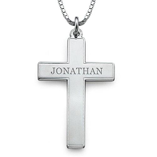(Necklace Pendant Custom Engraved Cross Necklace for Men Christmas Gift Birthday Present(18k rose-gold-plated-base 18