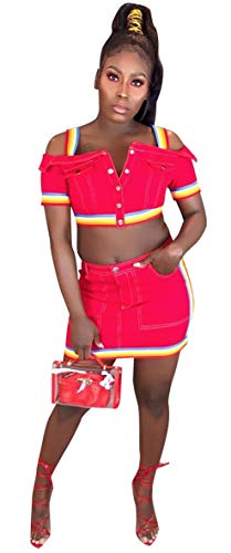 MONASAMA Women Rainbow Striped Strappy Button Down Short Sleeves Denim 2 Piece Crop Top and Mini Skirt Set Rose Red L